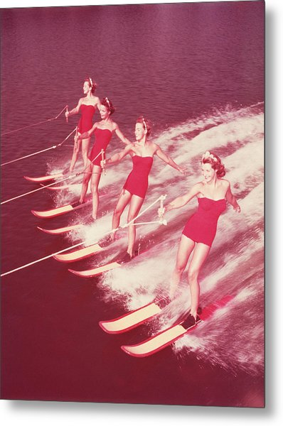 Women Water Skiing Parallel, 1950s Metal Print by Archive Holdings Inc.