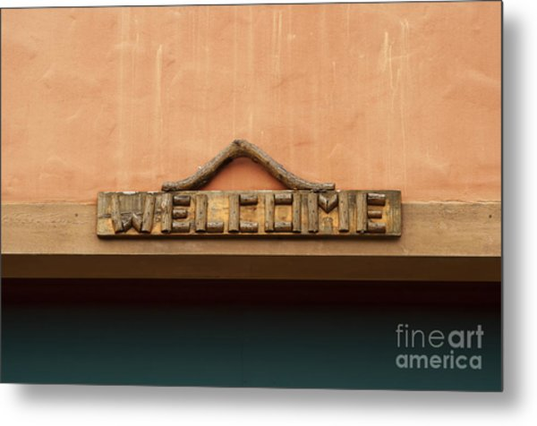 Wood Welcome Sign Metal Print by Blink Images