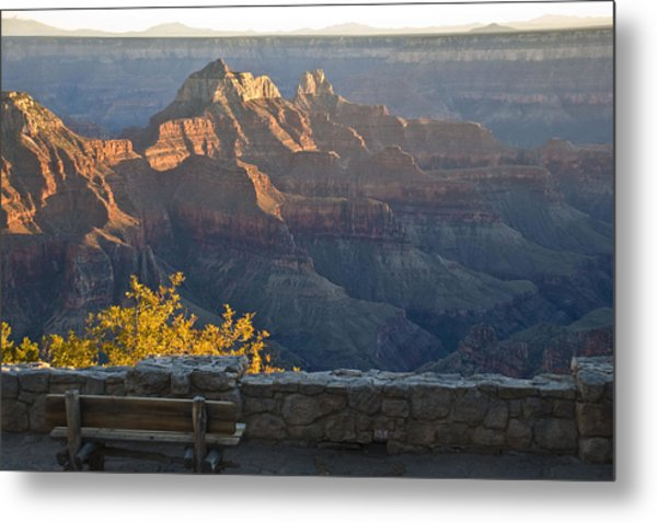 Wooden Bench At Canyon Metal Print
