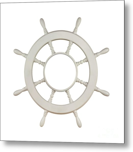 Wooden Sail Boat Wheel Metal Print