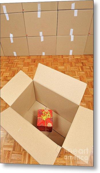 Wrapped Gift Box Inside Cardboard Box Metal Print by Sami Sarkis