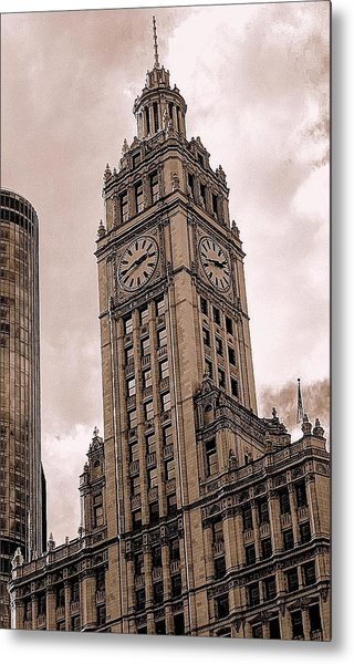 Wrigley Clock Tower Metal Print