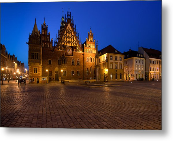Wroclaw Town Hall At Night Metal Print