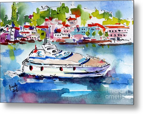 Yachting Off The Coast Of Amalfi Italy Watercolor Metal Print