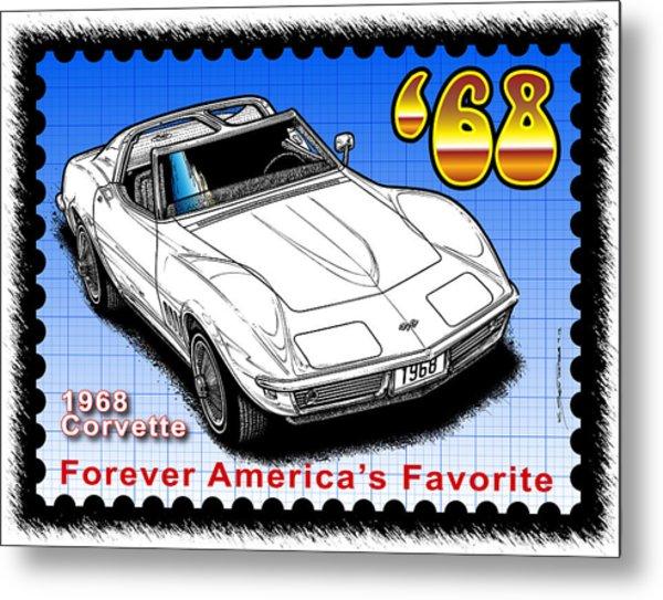 Year-by-year 1968 Corvette Metal Print