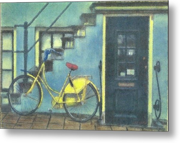 Yellow Bike Metal Print