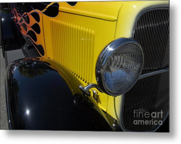 Yellow Flame Vintage Car Metal Print
