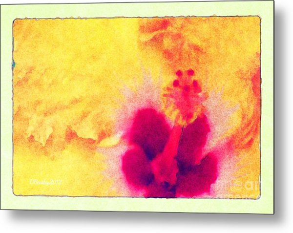 Yellow Hibiscus Flower Metal Print