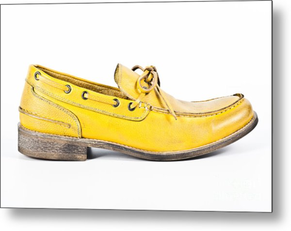 yellow Mens shoe Metal Print by Chavalit Kamolthamanon