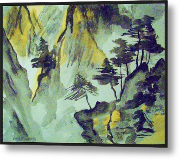 Yellow Orient Mountains Metal Print by Peggy Leyva Conley