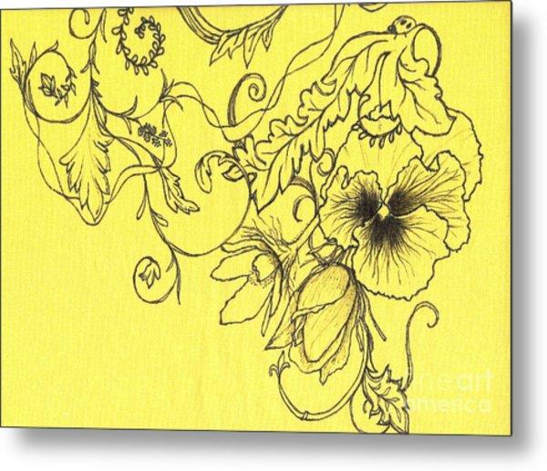 Yellow Pansy And Ladybug Metal Print