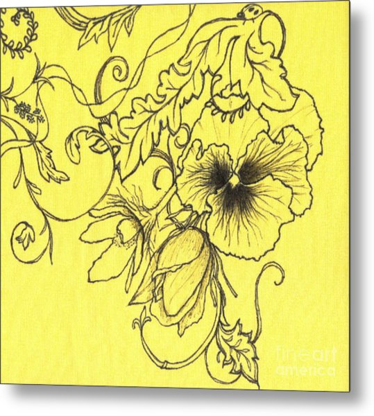 Yellow Pansy Metal Print