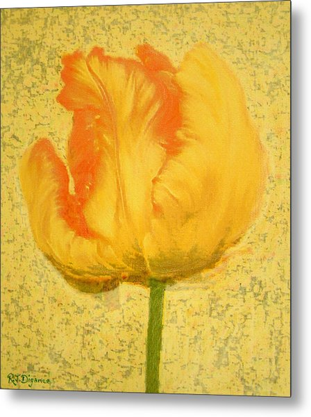 Yellow Parrot Tulip Metal Print