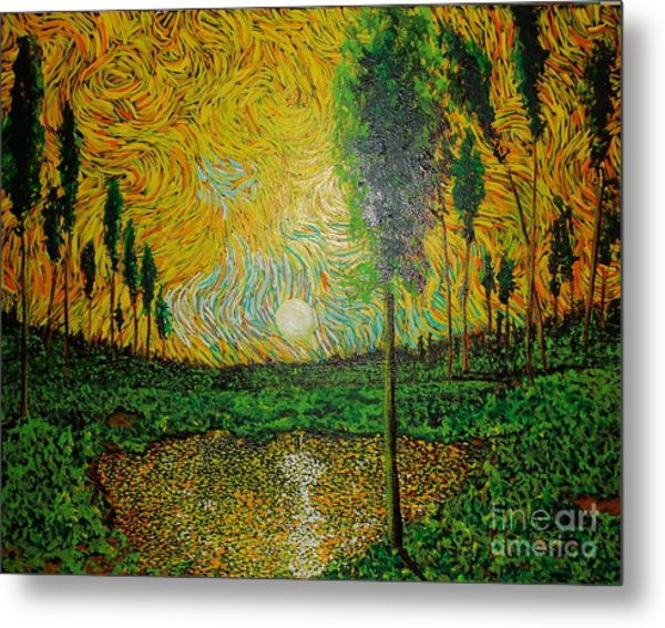 Yellow Pond Metal Print