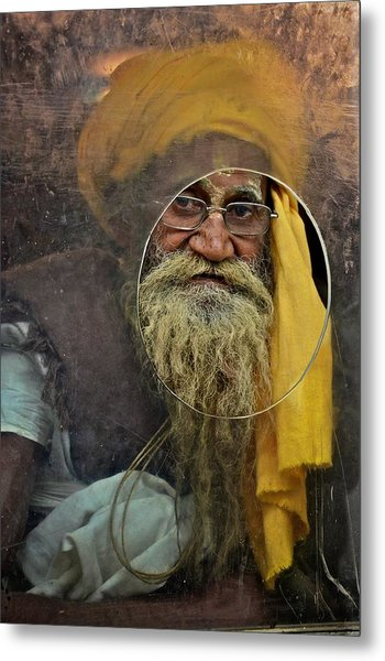 Yellow Turban At The Window Metal Print
