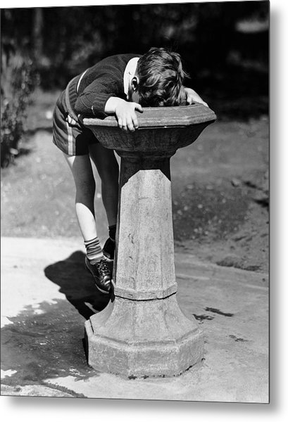 Young Boy Drinking From Water Fountain Metal Print by George Marks