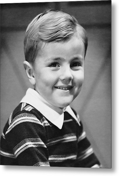 Young Boy Smiling Metal Print by George Marks