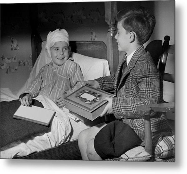 Young Boy Visiting Sick Friend Metal Print by George Marks