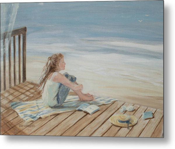 Young Christina By The Beach Metal Print by Tina Obrien