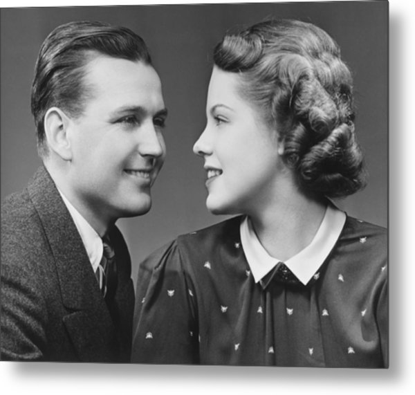 Young Couple Looking In Eyes In Studio, (b&w), Portrait Metal Print by George Marks