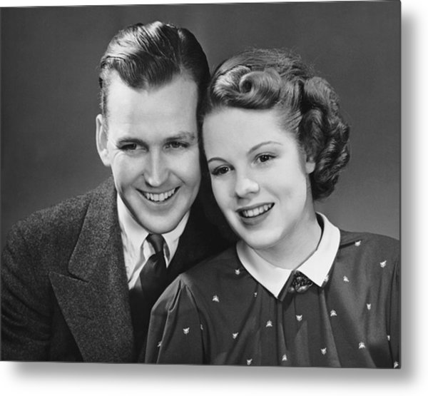 Young Couple Posing Together Metal Print by George Marks