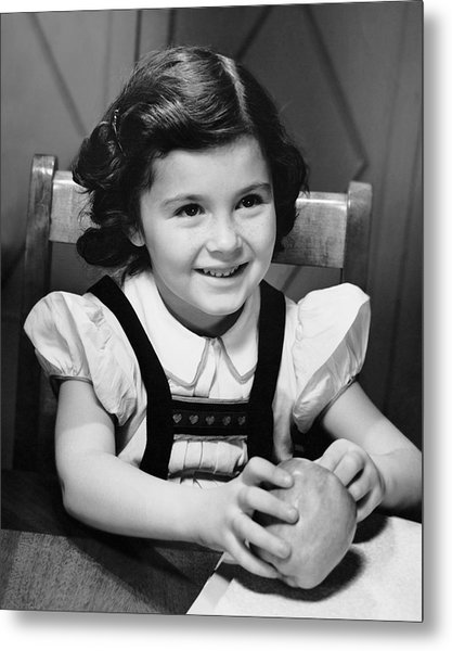 Young Girl Holding Apple Metal Print by George Marks