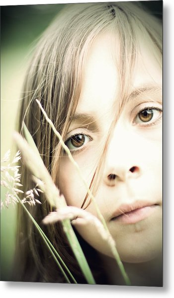 Young Girl In Field Of Grasses Metal Print
