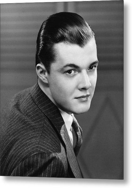 Young Man Wearing Pinstripe Jacket, (b&w), Portrait Metal Print by George Marks