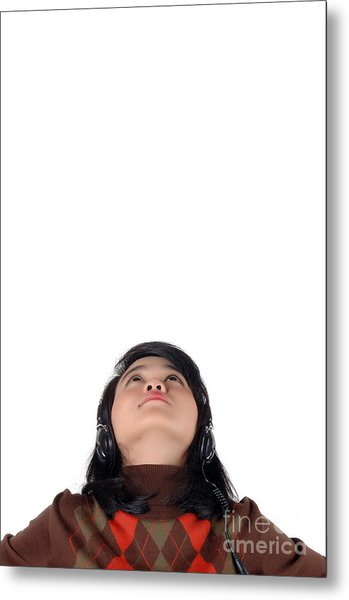 Young  Woman Looked Up To The Top And Enjoying The Music  Metal Print by Antoni Halim