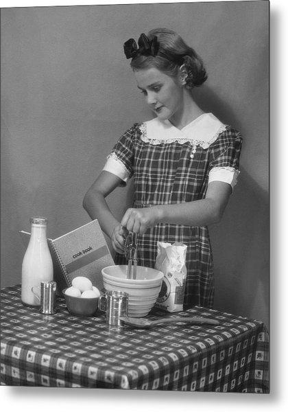 Young Woman Preparing Food Metal Print by George Marks
