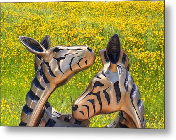 Zebra Sculptured Heads In Wildflowers Metal Print by Linda Phelps
