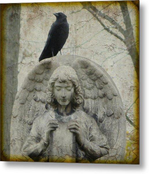 Zen Crow On Stone Angel Metal Print