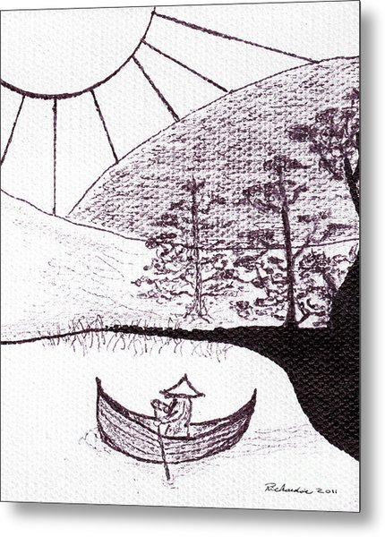 Zen Sumi Asian Lake Fisherman Black Ink On White Canvas Metal Print