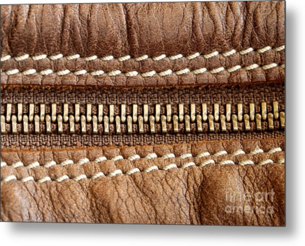 Zipper And Leather Detail Metal Print by Blink Images