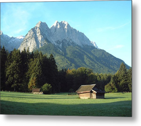 Zugspitz From Grainau Germany Metal Print