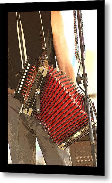 Zydeco Red Accordian Metal Print by Margie Avellino