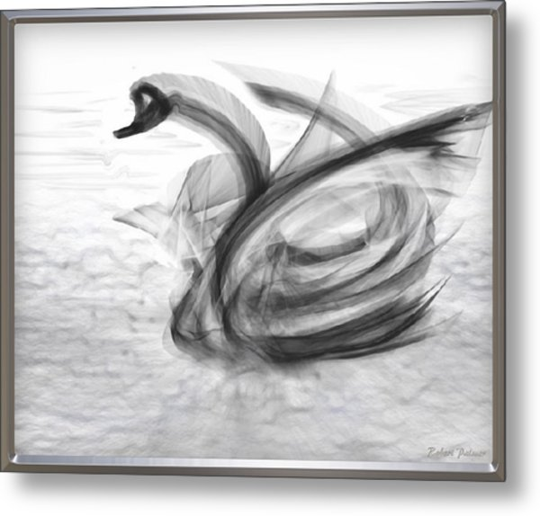 'a Fabric-ated Swan Melody ' Metal Print