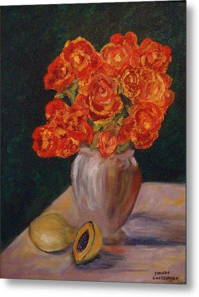 Abstract Red Roses Metal Print by Brenda Goetzinger