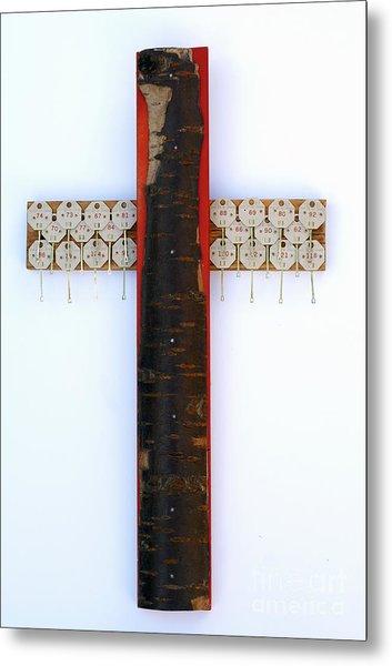 Bark Cross With Key Tags Metal Print