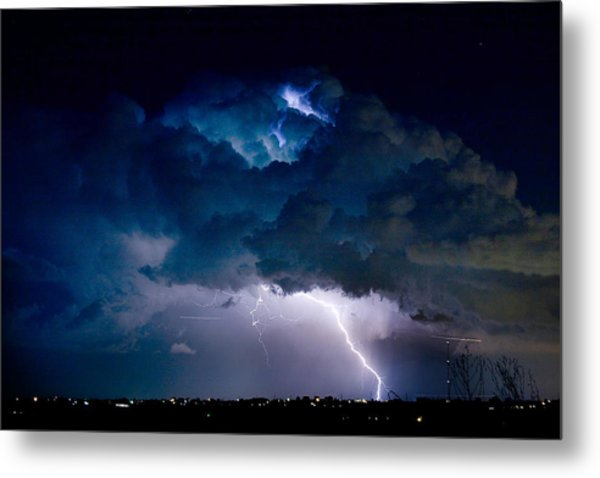 Clouds Of Light Lightning Striking Boulder County Colorado Metal Print by James BO  Insogna
