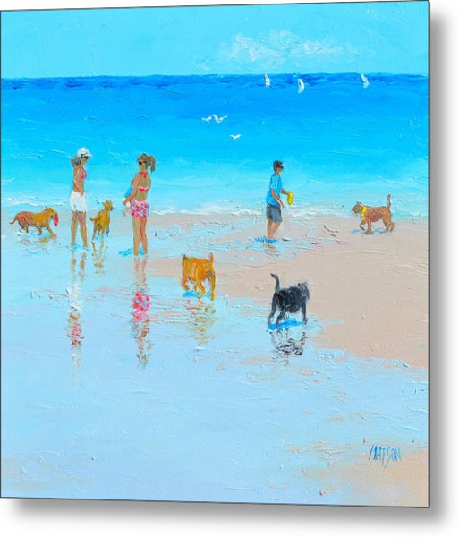 Dog Beach Day Metal Print