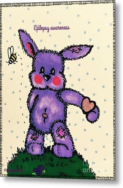 Epilepsy Awareness Bunny Metal Print