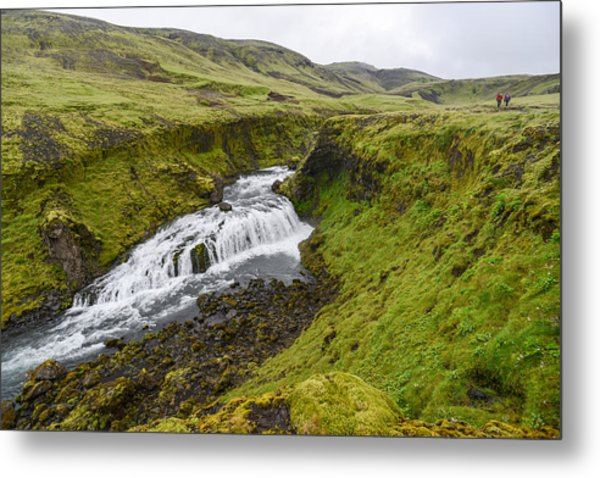 Fimmvorduhals Waterfall Metal Print