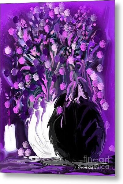 Flower Art Love Purple Flowers  Love Pink Flowers Metal Print