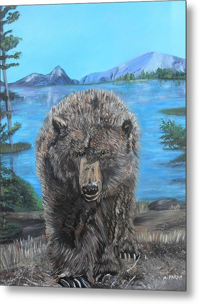 Hello Grizzley Bear Metal Print