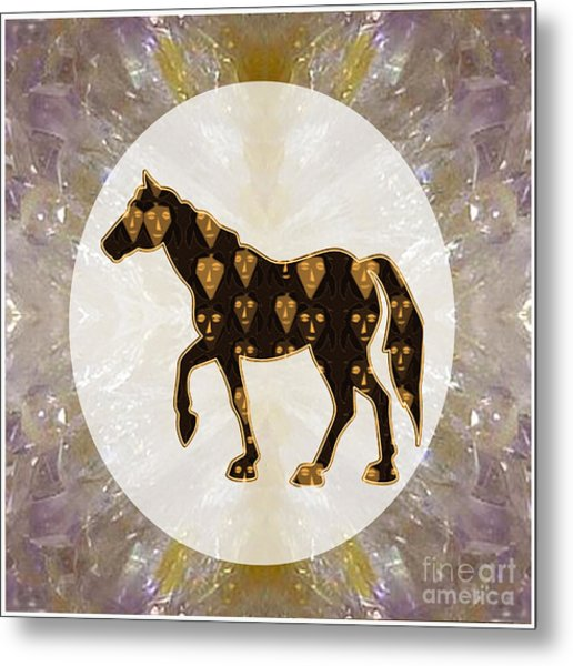 Horse Prancing Abstract Graphic Filled Cartoon Humor Faces Download Option For Personal Commercial  Metal Print