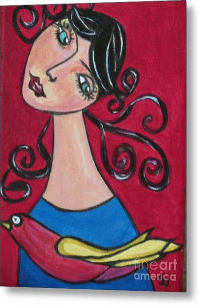Lady And The Bird Metal Print