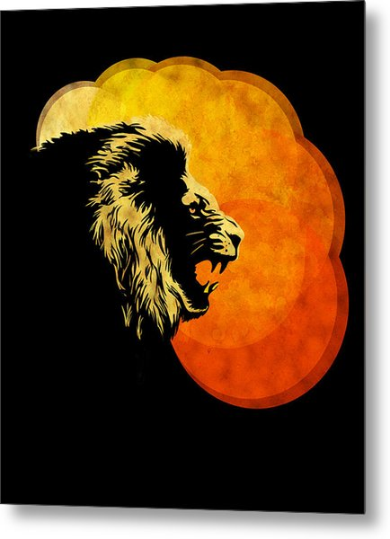 Lion Illustration Print Silhouette Print Night Predator Metal Print