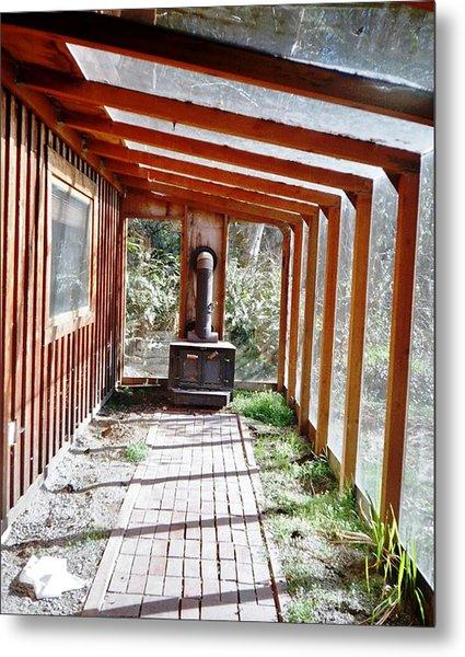 Log Cabin Sunroom Metal Print