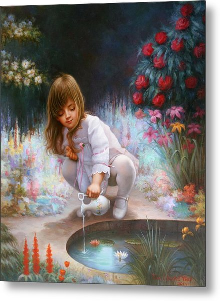 Pond And Girl Metal Print